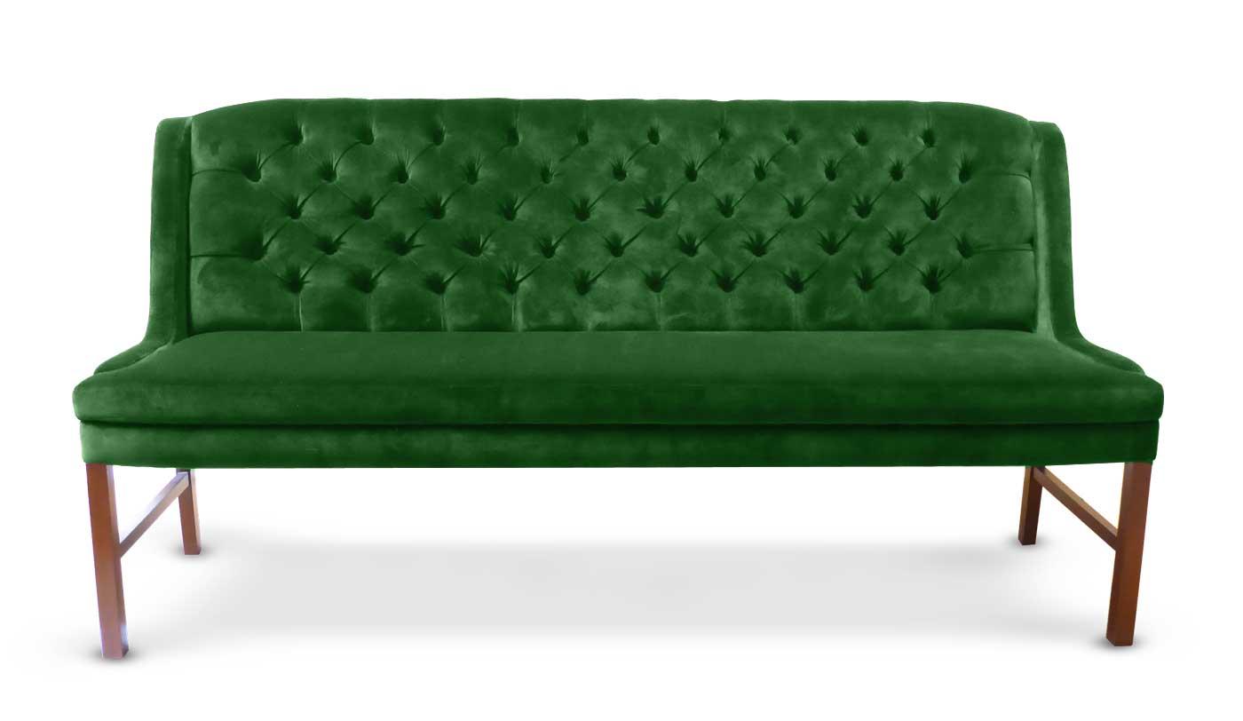 Küchensofa mit Chesterfield Muster in Samt, grün