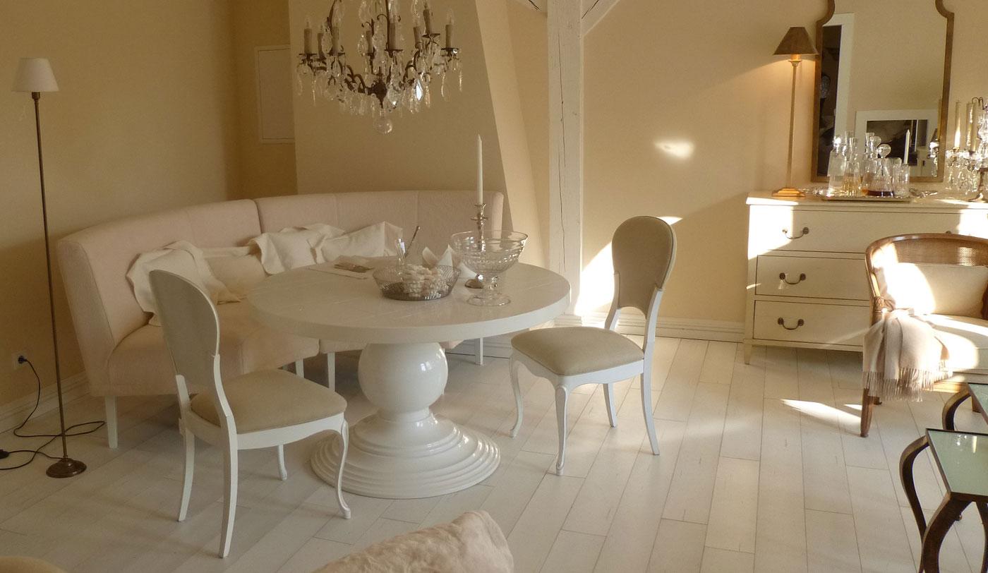 Esstischsofa, Rundbank, runde Polsterbank, Landhaus, elegant