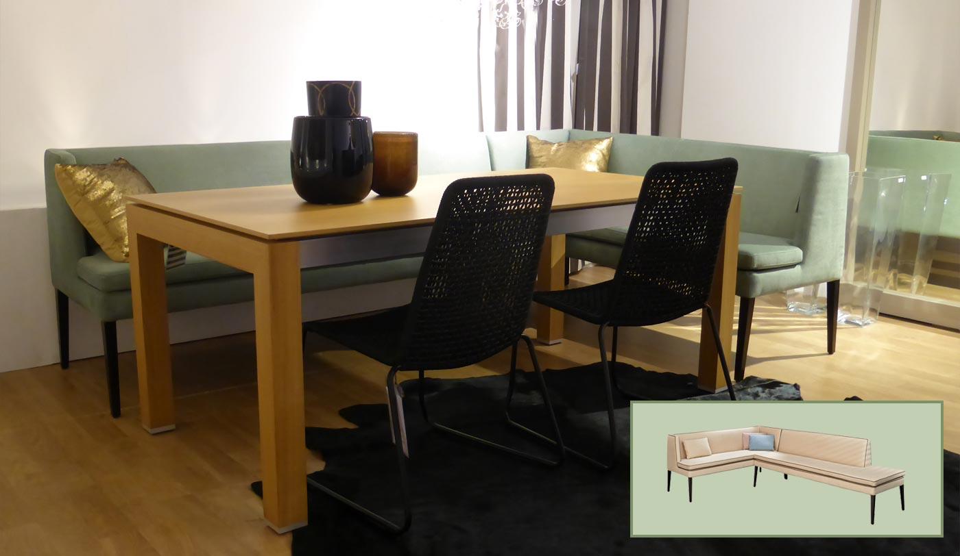 Esstischsofa, grüne Polsterbank, Essecke, Dinnerbank,
